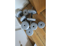 Weights/dumb bells and bar. Good condition.