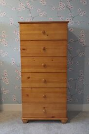 Solid Pine Tall Wooden Drawers - New