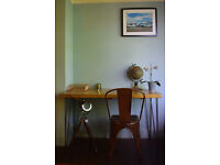 Rustic Chestnut Industrial Vintage Style Desk & Copper Chair Iron Legs