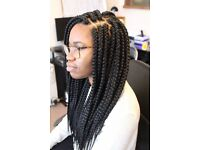 Box braids, Jumbo Braids, Wigs, Makeup
