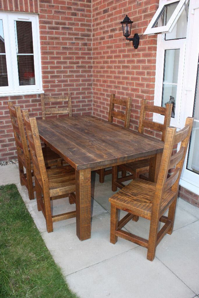 Large Chunky Solid Pine Dining Table And 6 Chairs Oiled Walnut Effect