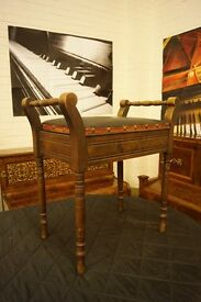 Vintage piano stool with open top for sheet music
