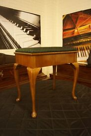 Vintage piano stool with Queen Anne legs and open top music storage