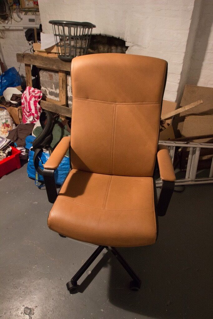 Ikea Malkolm Office Swivel Chair Light Brown Leather And Black