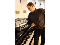An accordion or piano player available