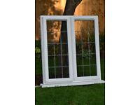 Anglian white UPVC leaded double glazed unit 2 opening windows, overall 1174mm W 1326mm H