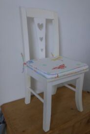 Upcycled Wooden Vintage Nursery / Bedroom Chair with a cushion in Osborne & Little material.