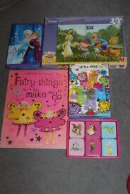 Girls toy bundle 5 items matching & no. games, pooh jigsaw, frozen pencil set, craft book