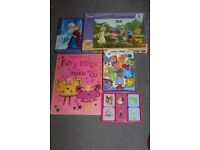 Girls toy bundle 5 items matching & no. games, pooh jigsaw, frozen pencil set, craft book