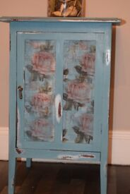 Hand painted decorative table/cupboard (side / lamp / bedside table)