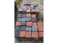 Reclaimed Black and Red 150 x 150 Quarry tiles