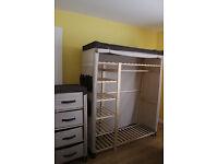 Polycotton and Pine Wardrobe and 4 Drawer storage unit