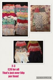Bundle of Girls 2-3yrs clothes