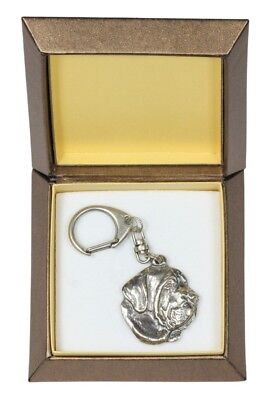 Spanish Mastiff - silver plated keyring with image of a dog, in box, Art Dog USA