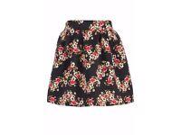 Floral print jacquard skirt