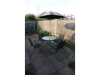 ROUND GARDEN GLASS TABLE + FREE PARASOL AND 4 CHAIRS