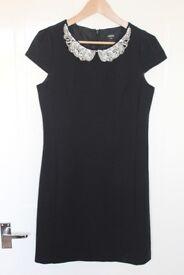 Oasis Black Mini Dress with Embellished Neckline, size 10 - Worn Once!