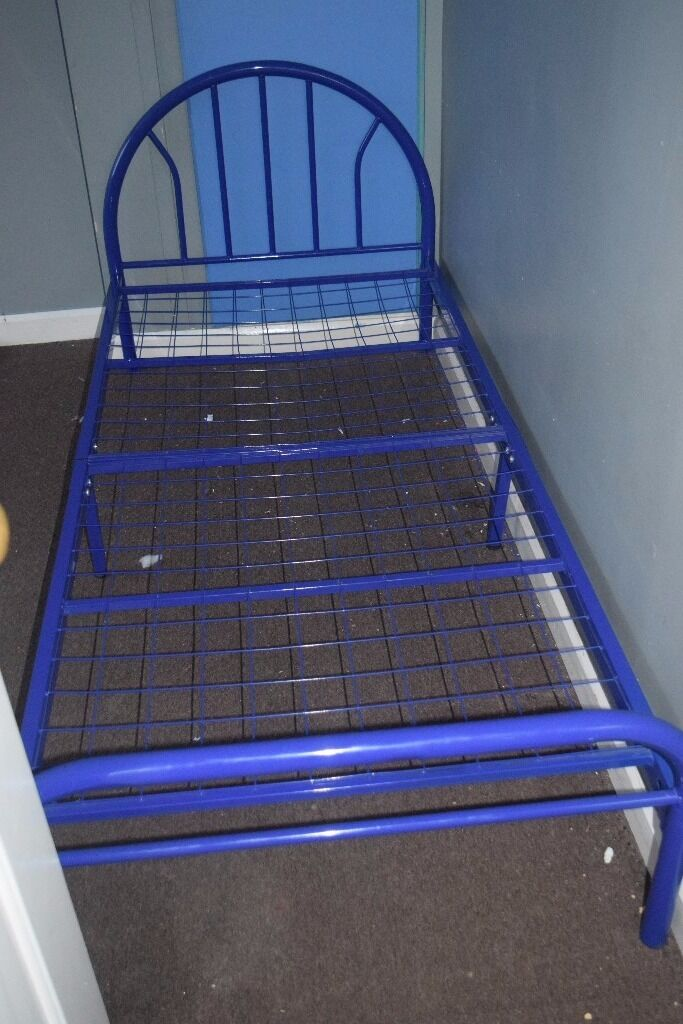 Single Bed Frame Blue Metal Mesh Wire Slats Very Sturdy NOW GBP