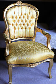 French Louis Armchair Gold Damask Shabby Chic Carved Wooden Frame Baroque Rococo Throne Arm Chair