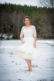 Tea Length Lace Size 12 Wedding Dress