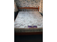 Pine Double bed with silentnight mattress