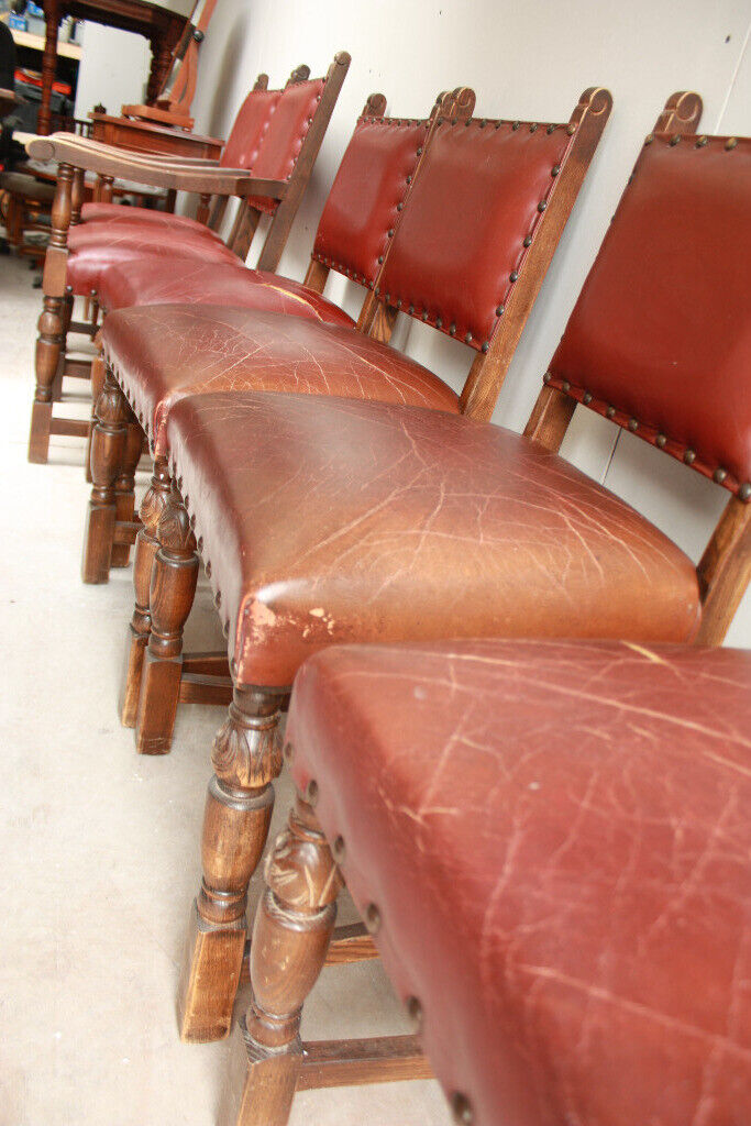 Marvelous Shabby Chic Gothic Style Red Leather And Oak Dining Chairs In Newmarket Suffolk Gumtree Download Free Architecture Designs Lukepmadebymaigaardcom