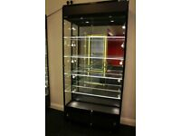 BIG MIRRORED BLACK STORAGE CABINET WITH LED LIGHTS CHEAP ROYAL DISPLAYS