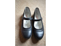 Girls black school shoes with strap. Size 6