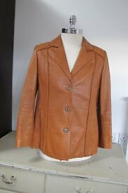 Leather Jacket, Ladies, 70s style, brown, size 44