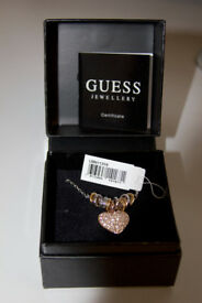 Genuine Guess Rose Gold Heart Necklace on Silver Chain