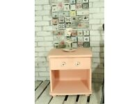 CUTE HAND PAINTED, PINK SIDE TABLE WITH DRAWER
