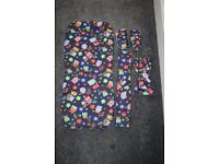 Hand made baby pram seat liner, chest pads, bumper bar cover, hood bow - navy owls CAN POST