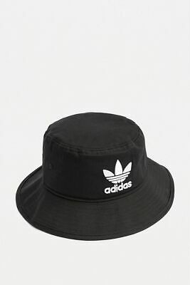 adidas Originals Bucket Hat in Black with Embroidered Trefoil Logo In White New