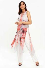 Wallis cream/pink/grey Jumpsuit - size 14
