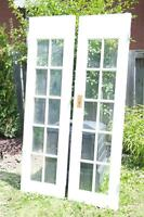 2 French Doors with 10 windows each - Solid Wood