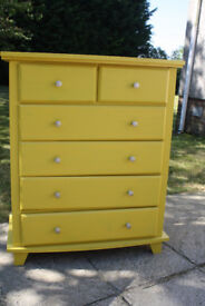 Contemporary set of drawers in mustard yellow colour