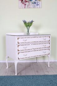 DRESSING TABLE FRENCH LOUIS STYLE, WELL MADE HEAVY WITH GLASS TOP - CAN COURIER