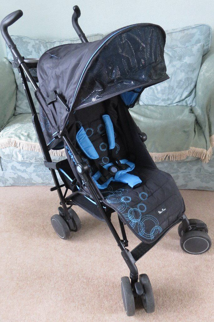 Immaculate Silver Cross Pop Stroller Blue Bubbles For