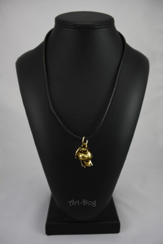 EnglishStaffordshireBullTerrier, gold covered necklace, high qauality Art Dog CA