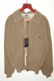 New Unisex Tan faux-suede jacket