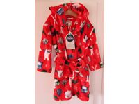 Brand New Hatley Boys /Girls Vintage Ski Fleece Red Robe S/P 2-3 Years Christmas