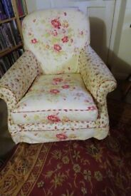 Small Laura Ashley Cambridge armchair with patchwork-design loose cover. Pristine.