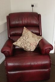 leather recliner with footstool with storage
