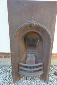 """Old iron fireplace 37x18x5"""" plus fire guard needs painting give your room the designer look"""
