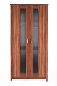 Brand New Oklahoma 2 Door Storage Double Wardrobe Cabinet - Walnut Effect
