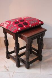 Table and stool set with Welsh tapestry upholstery