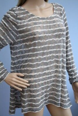 Mint Velvet Grey Sheer Stretch Lace Long Sleeve Top Size 18 ()