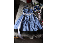 blue and white spotted 50s style halterneck dress size 16