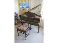 """Baby Grand Piano, 4'4"""" Marshall & Rose, UK-made 1930s. Double Overstrung, lovely mellow tone."""