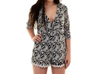 NEW Ladies 3/4 Sleeve V Neck Wrap Floral Embroidered Lace Lined Women's Playsuit